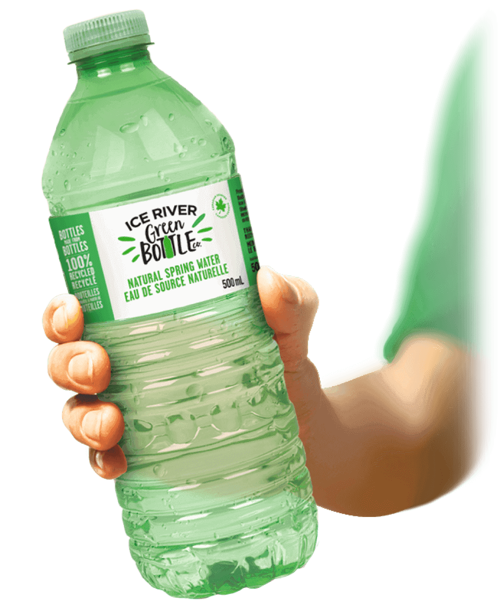 Hand holding a Ice River Green Bottle Co. bottle of water